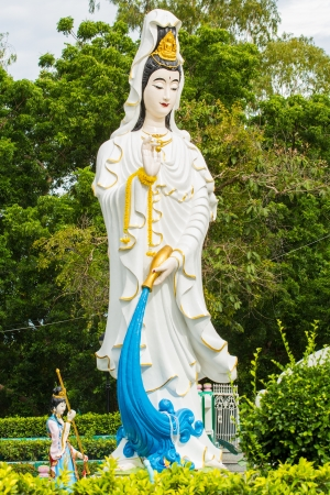immortal: guanyin thai-chinese buddhist statue at pattaya city Stock Photo