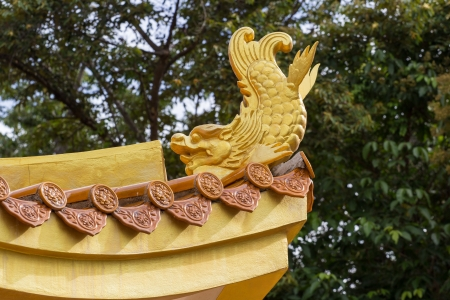 decorative of golden fish on chinese temple photo