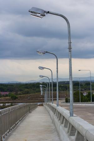 silent scene of bridge in Thailand with streetlight post