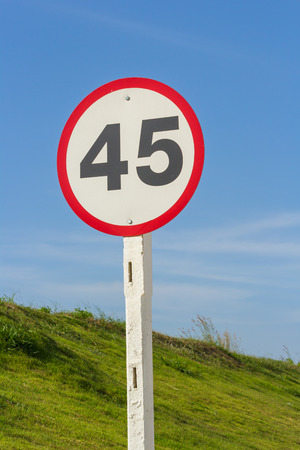 sky is the limit: speed limit in cicle sign post under blue sky