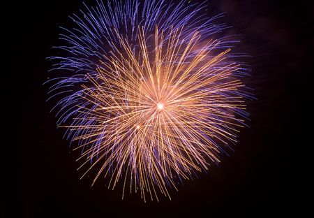 artifice: Close shot of some isolated fireworks in a typical festivity Stock Photo