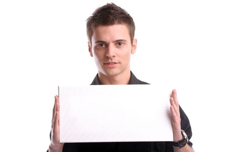 business man with an empty white card, isolated in white background photo