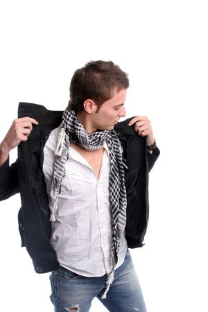Young casual man, dressing his coat, isolated in white background Stock Photo - 3092253