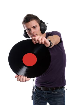 dj in headphones twisting a plate, isolated in white background - focus on the plate photo