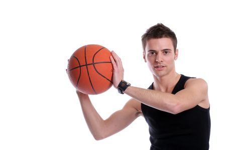 causal: Causal man holding basketball ball, isolated on white background