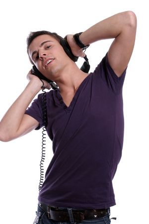 Casual man listening to music, isolated in white background photo