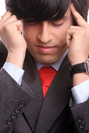 discharge time: Portrait of Young tired business man, isolated Stock Photo