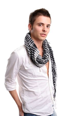Young casual man posing, isolated in white background Stock Photo - 3134310