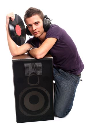 dj in headphones holding a plate, isolated in white background