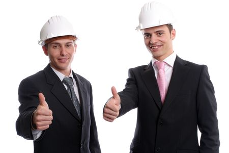 Business team, showing thumbs up, isolated in white background photo