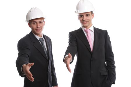 Business team, offering to shake hands, isolated in white background photo