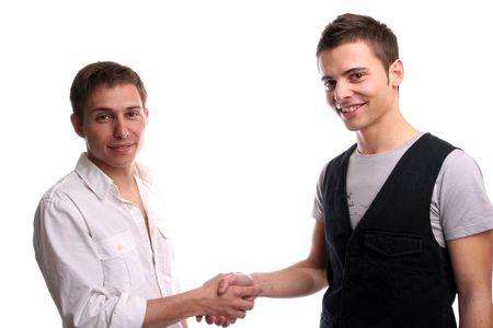 meet and greet: Two friends shaking hands, isolated in white background Stock Photo