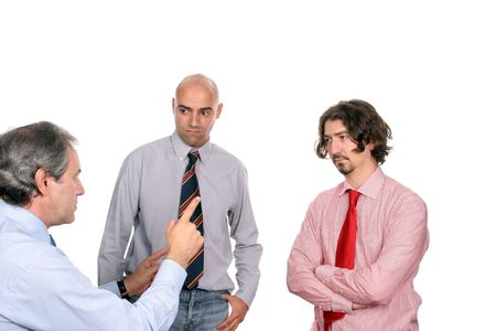 Businessmen discussing new project, isolated in white background photo