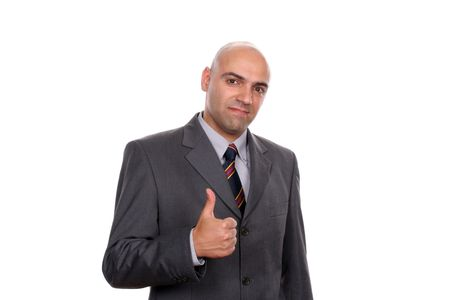 young business man going thumbs up, isolated on white background Stock Photo - 3314905