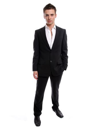 Young Businessman posing, isolated in white background photo