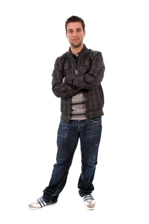 Young Casual Man posing, isolated in white background photo
