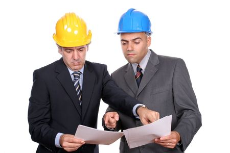 businessmen in a meeting, discussing new project, isolated over white background photo