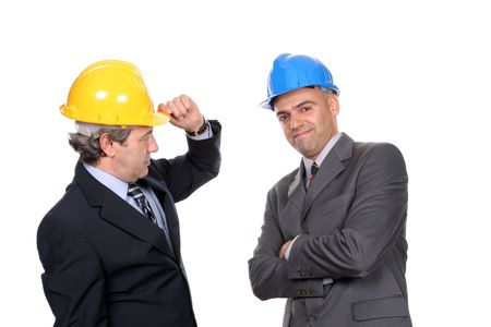 Two young businessmen posing in white background photo