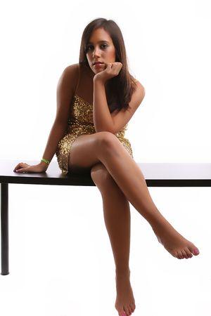 Beautiful Girl posing isolated over white background Stock Photo