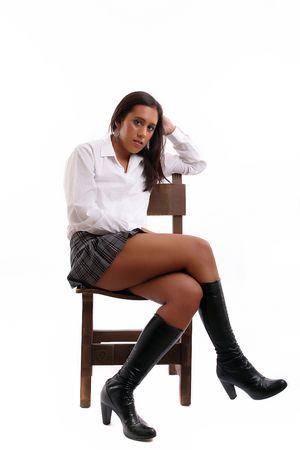 sexy schoolgirl: Hot schoolgirl posing isolated over white background