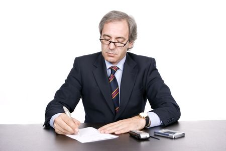 marketeer: Mature businessman working, isolated over white background Stock Photo