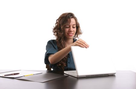 sinecure: Young Bussiness woman opening her laptop, isolated over white