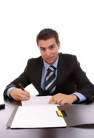 marketeer: young businessman at work, isolated over white