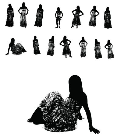 Women in long dresses Vector Silhouettes - Isolated over white photo