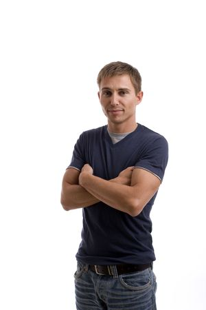 Young casual man posing, isolated over white background