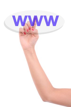 Womans Finger pressing the WWW key - Isolated over white background photo
