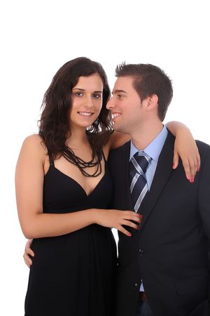 Bussiness couple portrait, isolated over white background photo