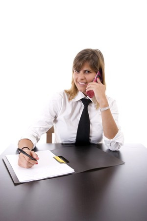 Young businesswoman at work, isolated over white background photo