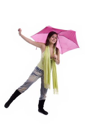 Young woman under an umbrella, posing over white photo