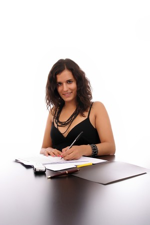 Young Business woman at work, isolated over white background photo
