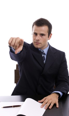 Young Businessman, showing positivity - focus on finger Stock Photo - 4166380