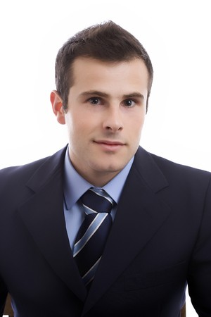 Portrait of young businessman - isolated in white background photo