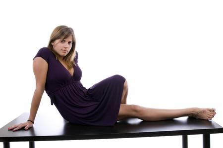 Beautiful Girl posing isolated over white background photo