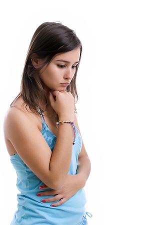 psyche: Retrato de joven muchacha triste, aislado en blanco Foto de archivo