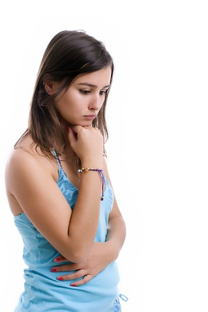 young sad girl portrait, isolated over white Stock Photo