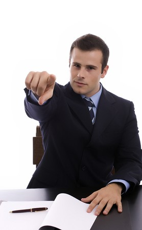 Young Businessman, showing positivity, isolated over white photo