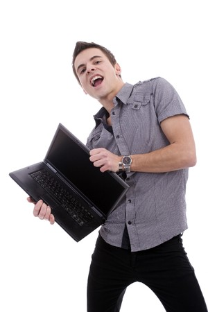 Young man, presenting laptop, isolated over white photo