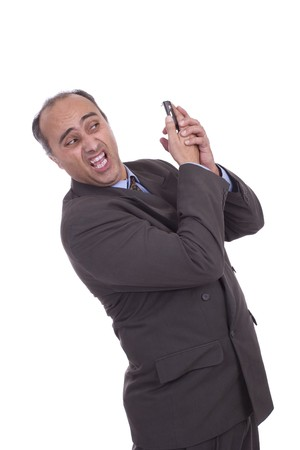Business man having discussion on cellphone, isolated over white Stock Photo - 4556044
