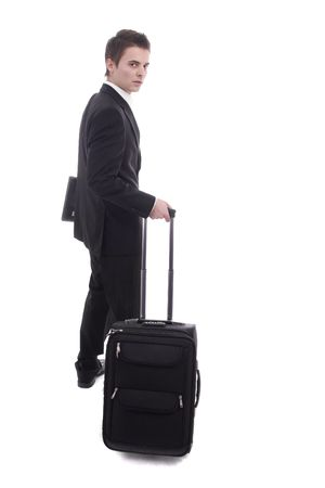 Young man going on vacations, isolated over white photo