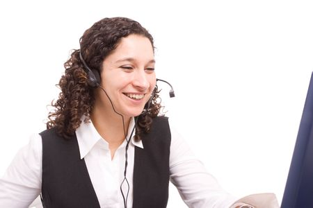 Friendly telephone operator working with laptop Stock Photo - 4919402