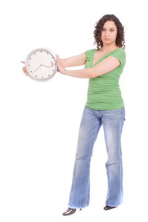 Woman holding a clock, isolated over white Stock Photo - 4919411