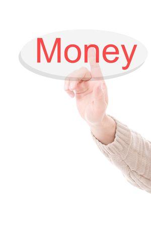 Mans Finger pressing the money key - Isolated over white background photo