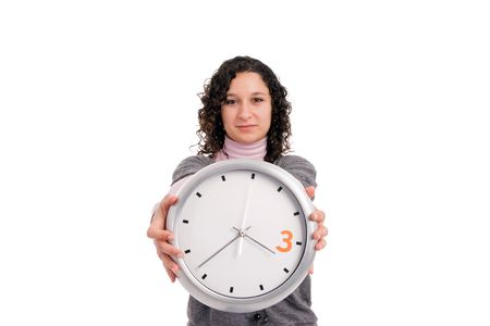 Woman holding a clock, isolated over white Stock Photo - 5012368