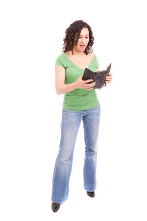 woman with empty wallet, posing isolated over white Stock Photo - 5087409