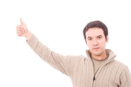 young boy showing thumbs up, isolated in white photo