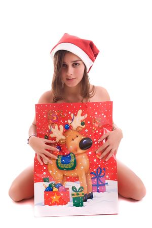 chica: Young Santa Girl posing isolated over white background